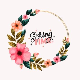 Tema de quadro floral de primavera em aquarela