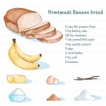 Tema de receita de pão caseiro