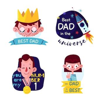 Tema de rótulos de dia dos pais desenhado