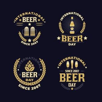 Tema de rótulos de dia internacional da cerveja