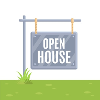 Tema de sinal imobiliário casa aberta