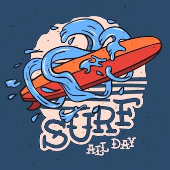 Tema de surf com prancha de surf longboard e ondas de água desenhados à mão. ilustração vintage.