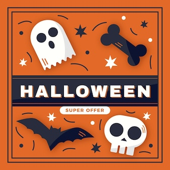 Tema de venda de halloween de design plano