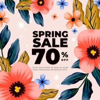 Tema de venda de primavera em aquarela