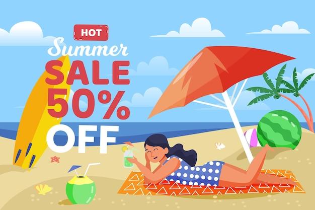 Tema de venda de verão desenhados à mão