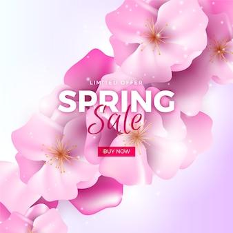 Tema de venda promocional de primavera realista