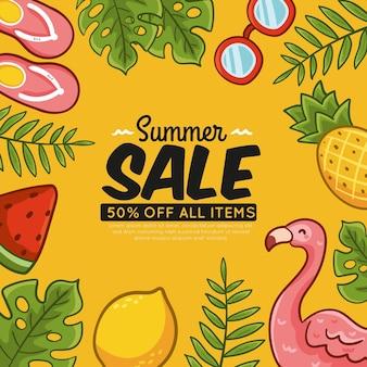 Tema de vendas sazonais de verão desenhados à mão