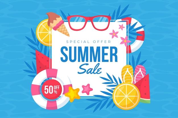 Tema de vendas sazonais de verão design plano