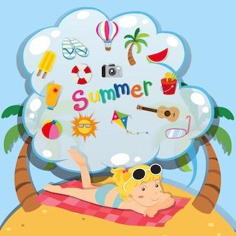 Tema de verão com garota na praia