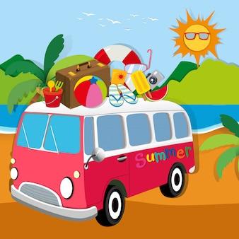 Tema de verão com malas na van