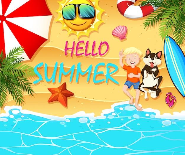 Tema de verão com menino e cachorro na praia