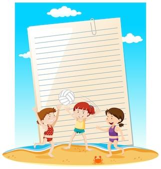 Tema de verão do modelo de nota de papel em branco