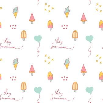 Tema de verão doodle fundo com sorvete