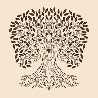 Tema de vida na árvore desenhado à mão