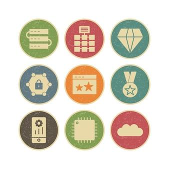 Tema de web conjunto de ícones de seo