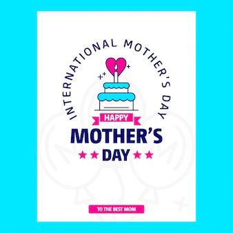 Tema de withblue de cartão de dia das mães e vetor de design criativo