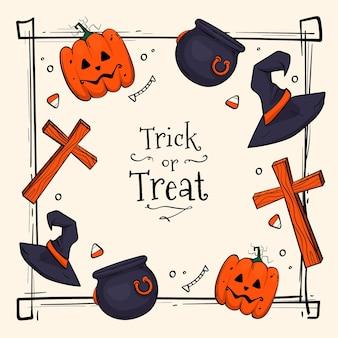 Tema desenhado à mão de moldura de halloween