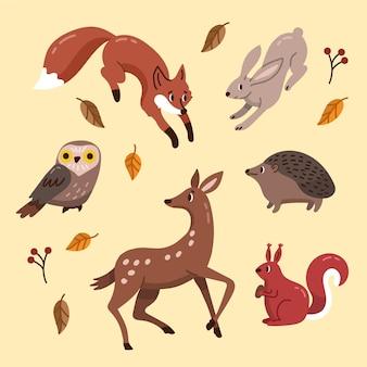 Tema desenhado à mão de outono animais da floresta