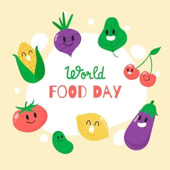 Tema desenhado à mão do dia mundial da alimentação