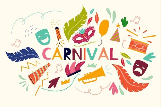 Tema desenhado à mão para a celebração do evento de carnaval