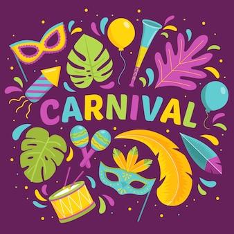 Tema desenhado à mão para evento de carnaval