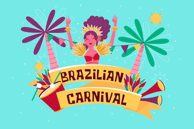 Tema desenhado à mão para o carnaval brasileiro