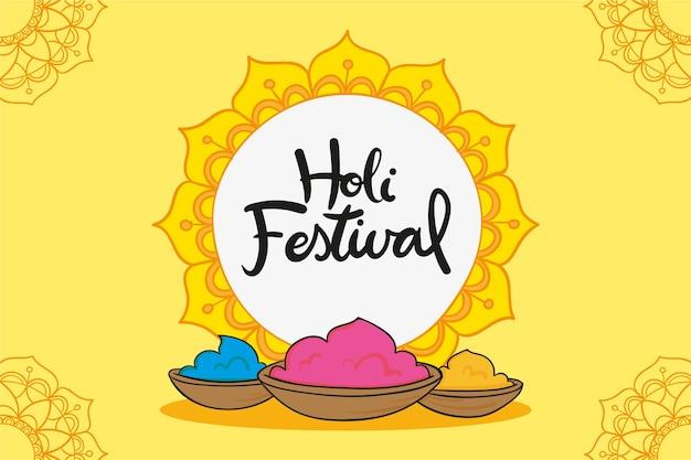 Tema desenhado à mão para o festival de holi