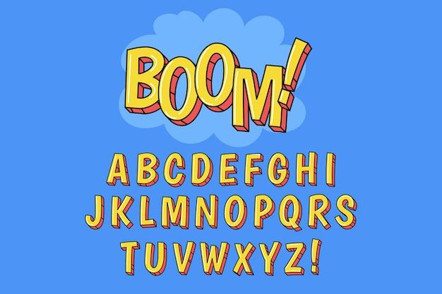 Tema do alfabeto em quadrinhos 3d