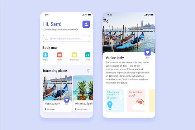 Tema do aplicativo de reservas de viagens