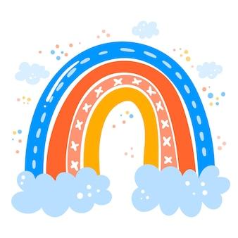Tema do arco-íris de desenho à mão