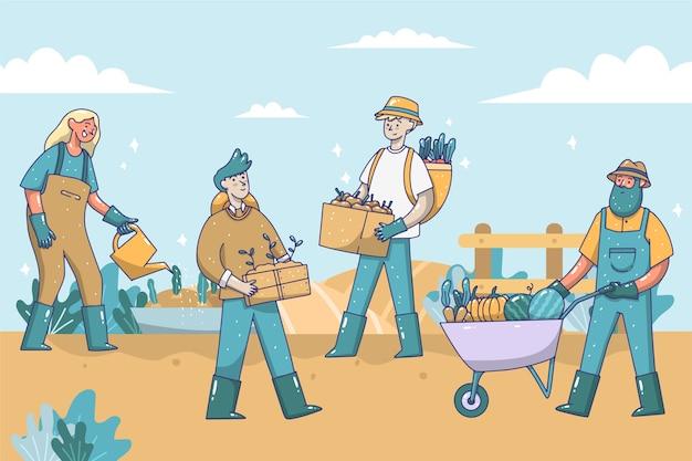 Tema do conceito de agricultura orgânica