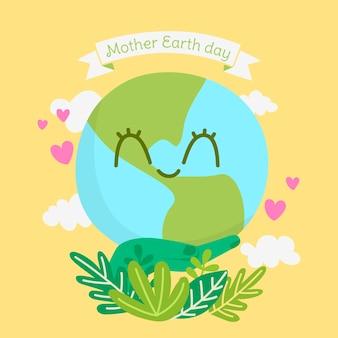 Tema do dia da mãe terra desenhados à mão
