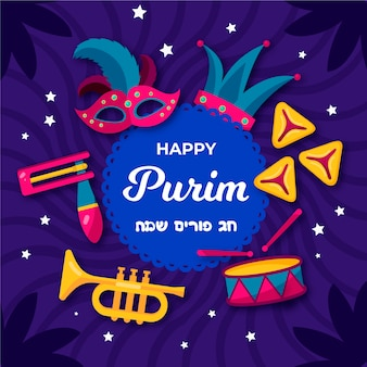 Tema do dia de design plano purim