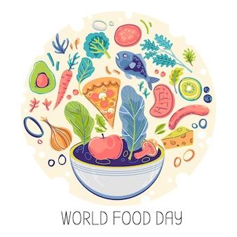 Tema do dia mundial da comida desenhado à mão