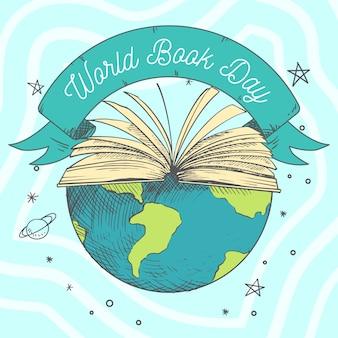 Tema do dia mundial do livro desenhados à mão