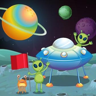 Tema do espaço com alienígenas e ovnis