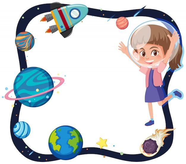 Tema do espaço com astronauta menina