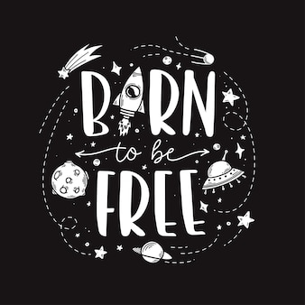 Tema do espaço doodle slogan