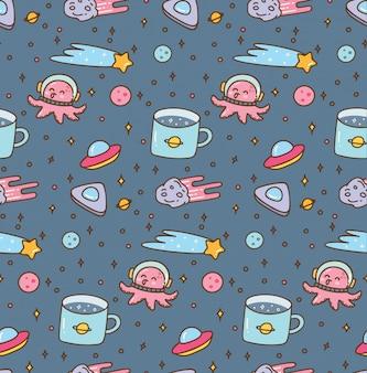 Tema do espaço doodles padrão sem emenda