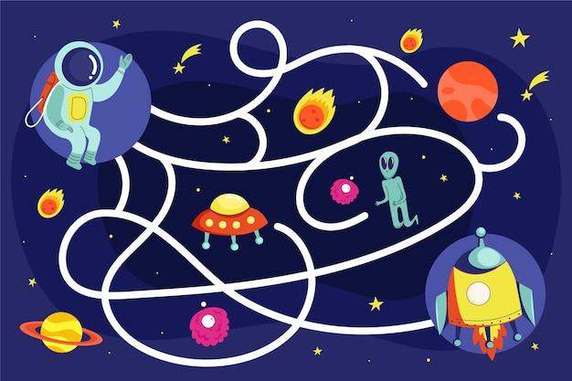 Tema do espaço labirinto para crianças