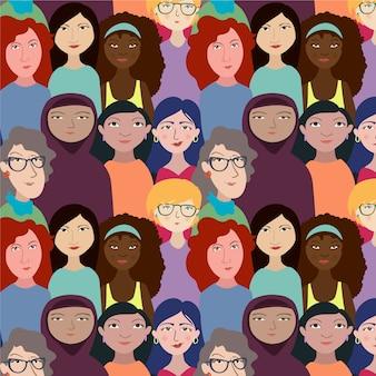 Tema do evento do dia das mulheres com padrão de rostos de mulheres