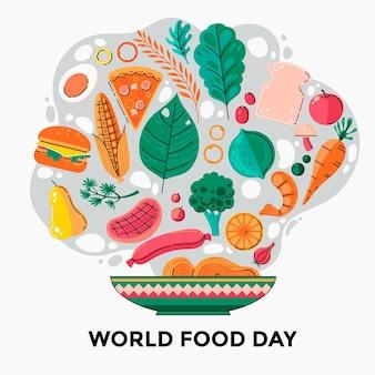 Tema do evento do dia mundial da alimentação desenhado à mão