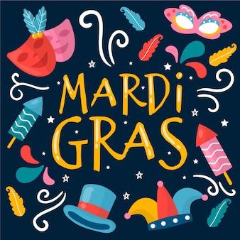 Tema do evento mardi gras desenhados à mão