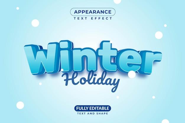 Tema do feriado de inverno estilo de efeito de texto de natal