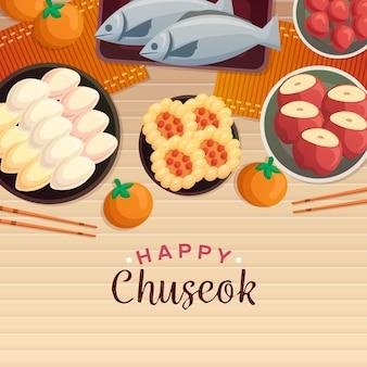Tema do festival chuseok desenhado à mão