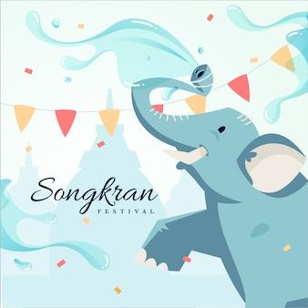 Tema do festival de design plano songkran