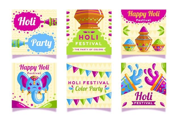 Tema do festival holi para coleção de postagens do instagram