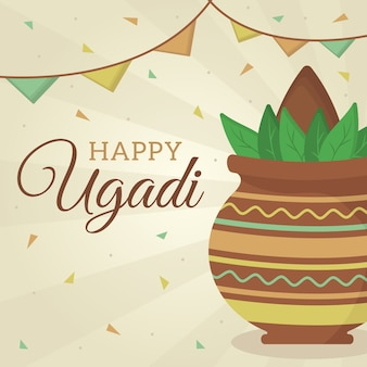 Tema do festival ugadi feliz design plano