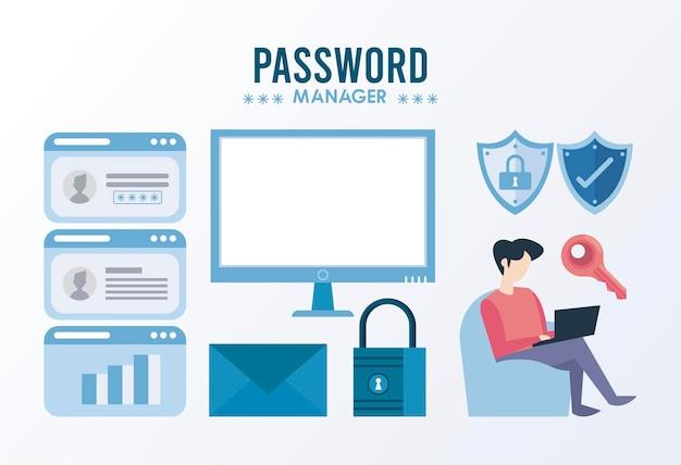 Tema do gerenciador de senhas com ilustração de conjunto de ícones de pacote seguro