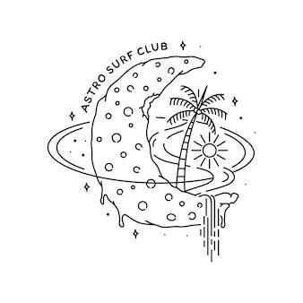 Tema do logotipo, espaço e praia de monoline